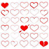 A lot of red hearts - vector set — Stock Vector