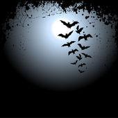 与月球和蝙蝠万圣节背景 — 图库矢量图片