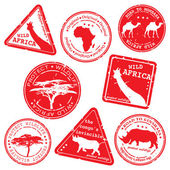 Stamp, wild africa, vector set — 图库矢量图片