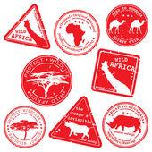 矢量邮票野生非洲 — 图库矢量图片