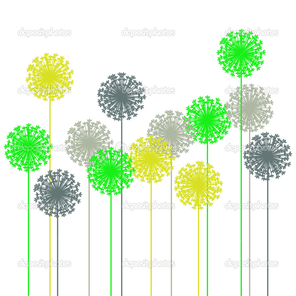 Abstract dandelion silhouette - vector  Stock Vector #2037206