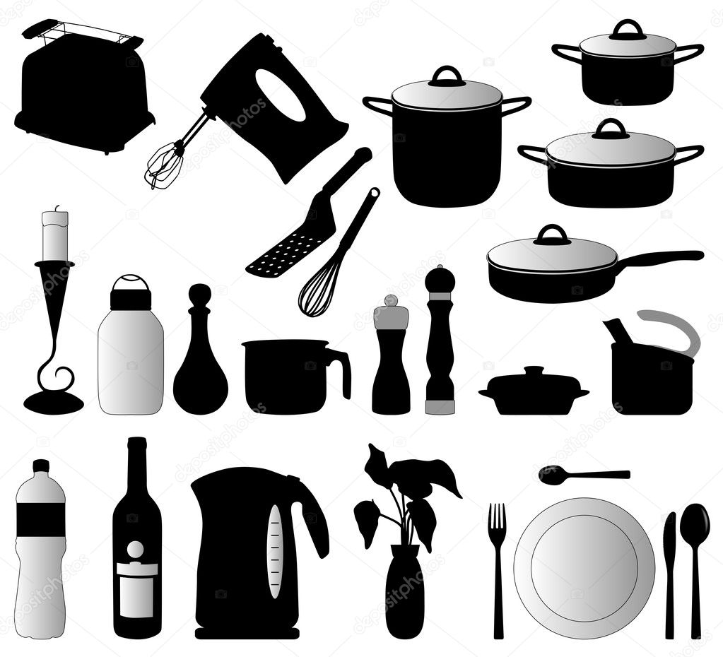 Dishes, pan, mixer and other kitchen objects silhouette vector — Stock Vector #2037470