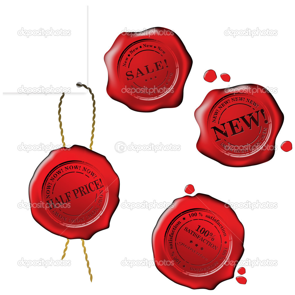 Sale wax stamp - vector set — Stock Vector #2037586