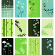 Colorful floral tags vector set - Stock Vector