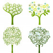 Abstract tree with flowers, vector set - Stok Vektör