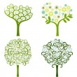 Abstract tree with flowers, vector set - Stock Vector