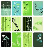 Tags florales colorés vector ensemble — Vecteur