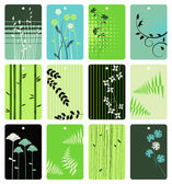 Colorful floral tags vector set — Stock Vector