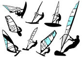 Windsurfing - vector set — 图库矢量图片