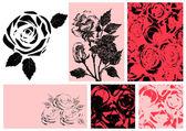 Illustration vectorielle de roses. ensemble de conception — Vecteur