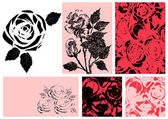 Vector illustration of roses. Design set — Stock Vector