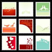 Festive The Valentine's Stamps — Vettoriale Stock