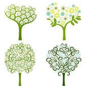 Abstrait arbre à fleurs, set vector — Vecteur