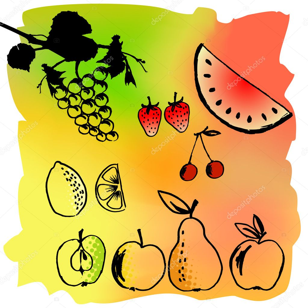Vector illustration set of a different fruits — Stock Vector #2056312