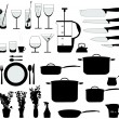Stock Vector: Kitchen objects silhouette vector