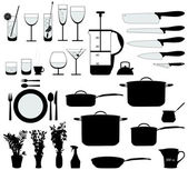 Kitchen objects silhouette vector — Stock Vector