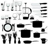 Objets de cuisine silhouette vecteur — Vecteur