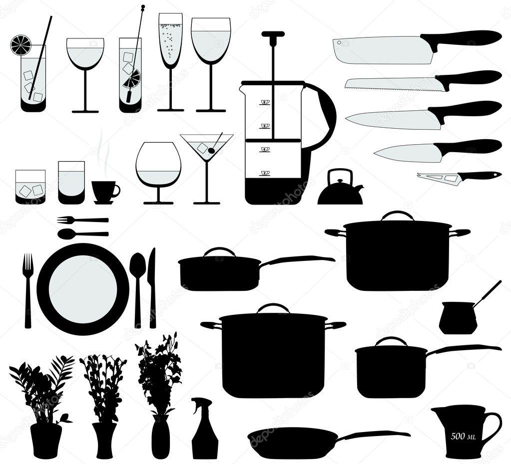 Objetos de cocina silueta vector vector de stock for Objetos de cocina