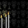 Candles on the black background - Stock Vector