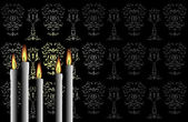 Candles on the black background — Stock Vector