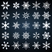 Cold crystal snowflakes - vector set — Stock vektor