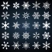 Copos de nieve fría cristal - conjunto de vectores — Vector de stock
