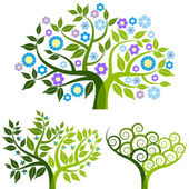 Abstract tree with flowers, vector set — 图库矢量图片