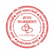 Grungy stamp - just married — Vettoriali Stock