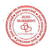 Grungy stamp - just married — Vetorial Stock