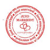 Timbre grungy - vient de se marier — Vecteur