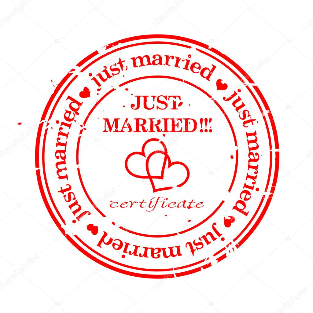 Wedding grungy stamp just married isolated over white — Stock Vector #2563479