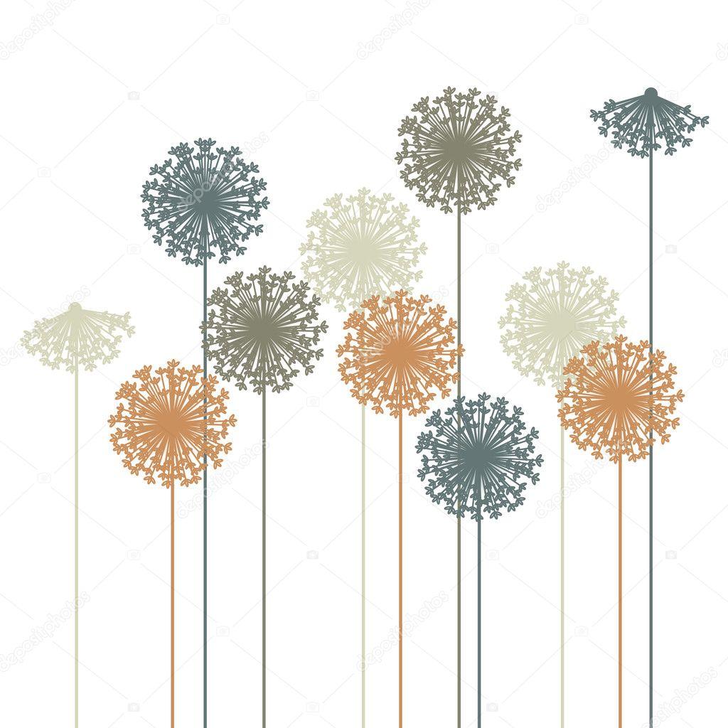 Dandelion Wall Art Stickers Abstract Dandelion Silhouette Vector Stock Vector
