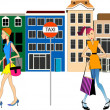 Town Girls - Stock Vector