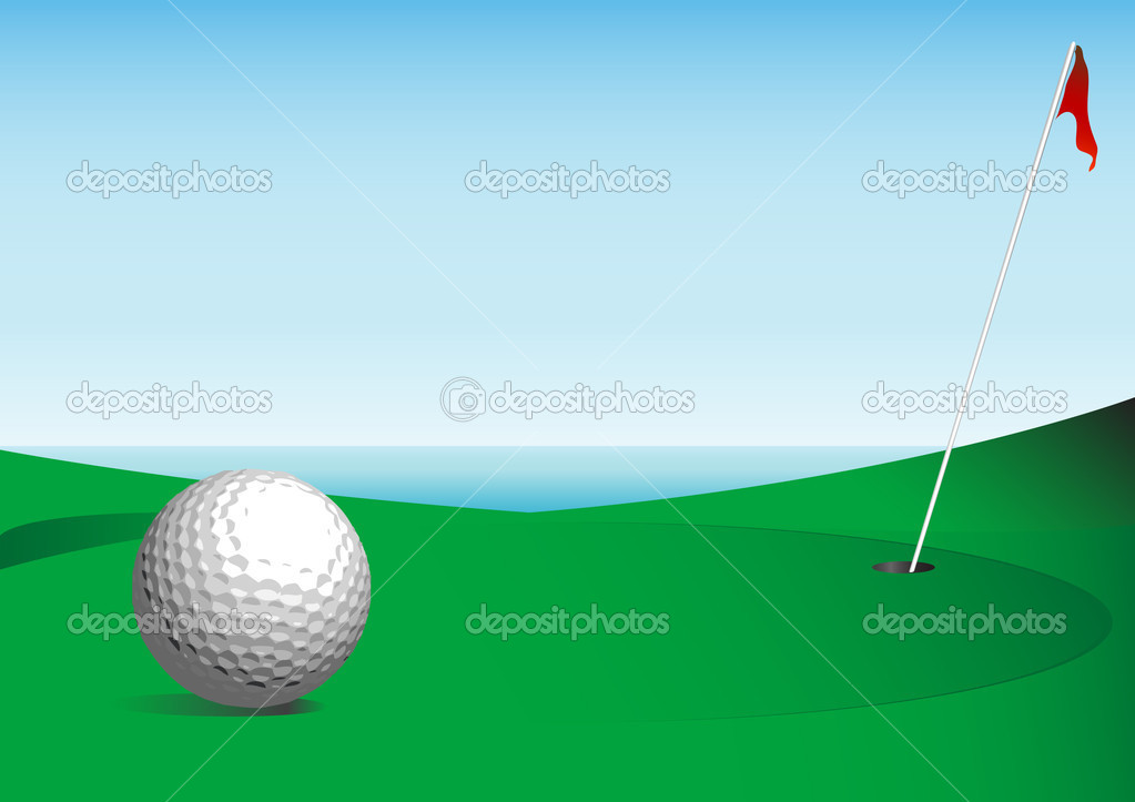 Golf Ball Teed Up (Vector image fully resizable)  Stock Vector #2008555