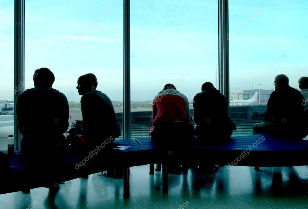 depositphotos 2060562 Airport Lounge People Three guys with a teen girl enjoying outdoors. One plays one shoots and the ...