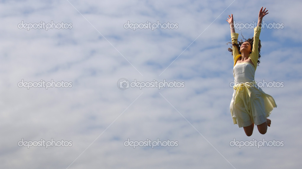 Very Attractive Teenager Jumping for Joy — Stock Photo #2063134