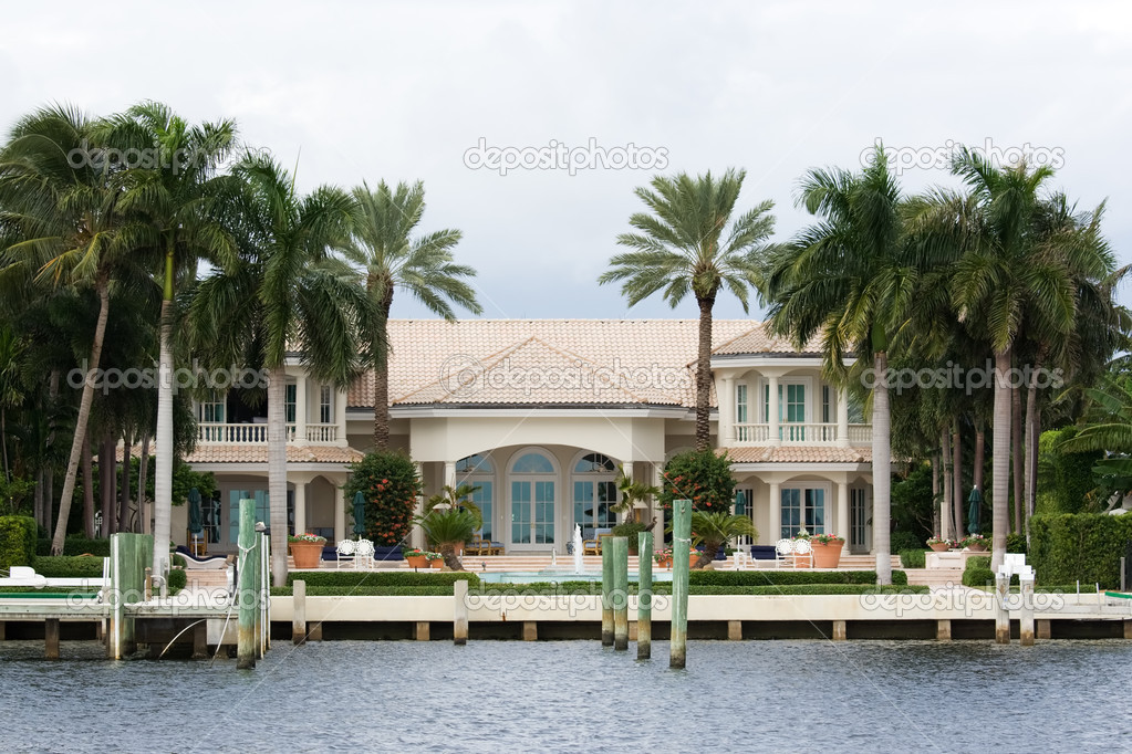 Luxury water front house with garden and dock  Stock Photo #2108478