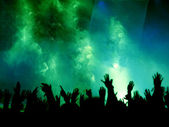 Green Concert Crowd — Stock Photo