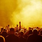 Yellow Concert Crowd — Stock Photo