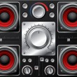 Red speakers with amplifier and knobs - Stock Vector