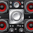 Stock Vector: Red speakers with amplifier and knobs