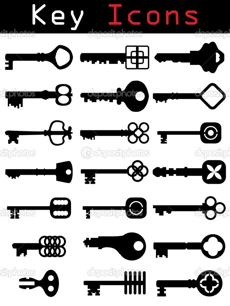 Retro style key silhouette set — Stock Vector #2576491