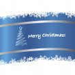 Blue Christmas ribbon card - Stok Vektör