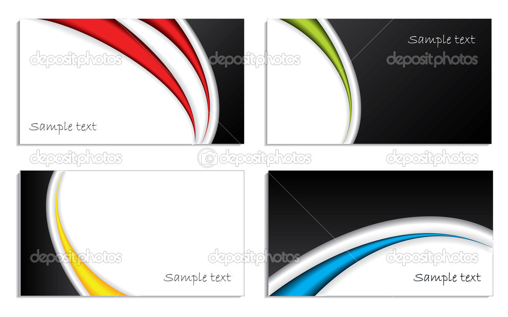 Cool waved business card set in different colors  Stock Vector #2684758