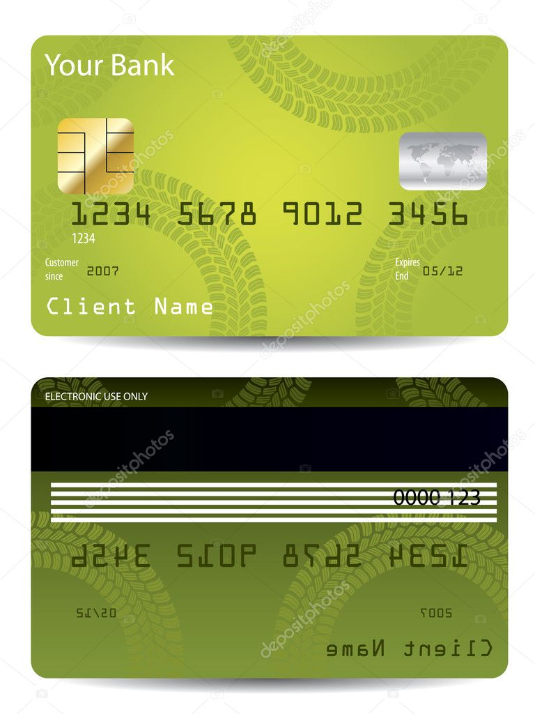 Green credit card design with tire track — Stock Vector