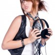 Girl with earphone — Stock Photo