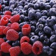 Raspberry and bilberries on the white ba — Stock Photo