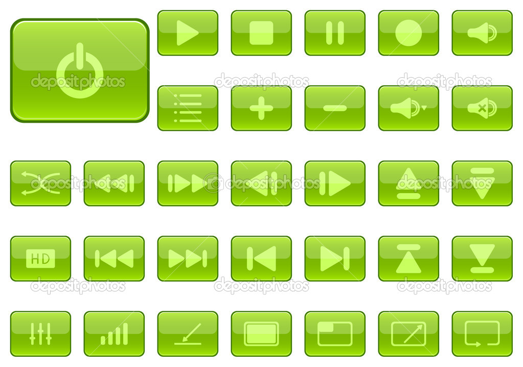 Player Icons Vector Media Player Icons Glossy