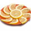 Lemon in plate — Foto de Stock