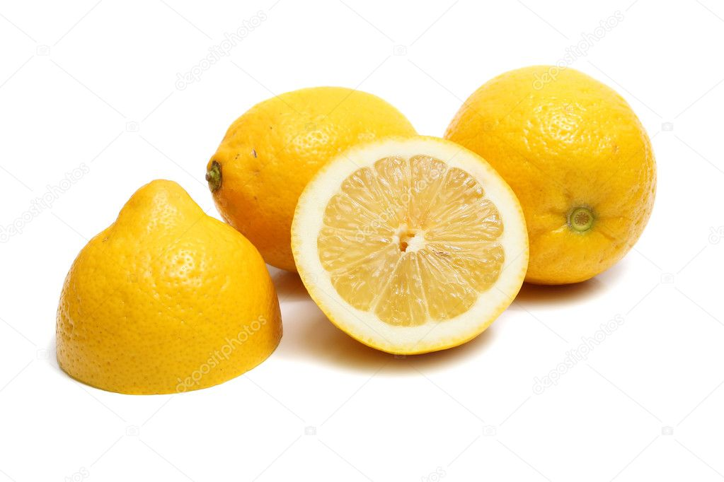 Ripe yellow lemon isolated on white background  Zdjcie stockowe #2033989
